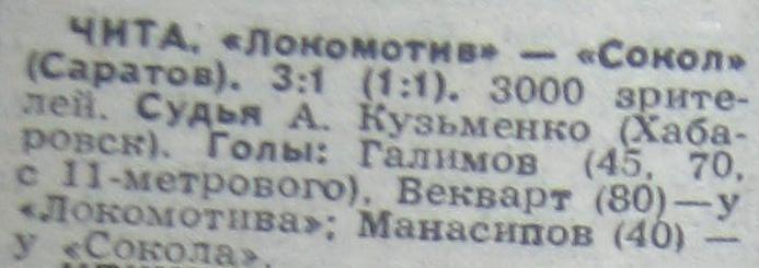 Локомотив (Чита) - Сокол (Саратов) 3:1