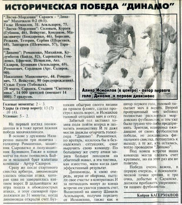 Лисма-Мордовия (Саранск) - Динамо (Махачкала) 0:2