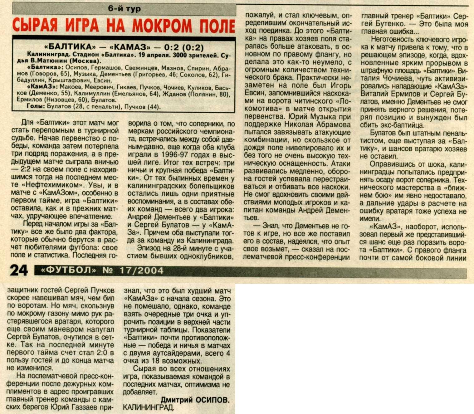 Балтика (Калининград) - КамАЗ (Набережные Челны) 0:2. Нажмите, чтобы посмотреть истинный размер рисунка