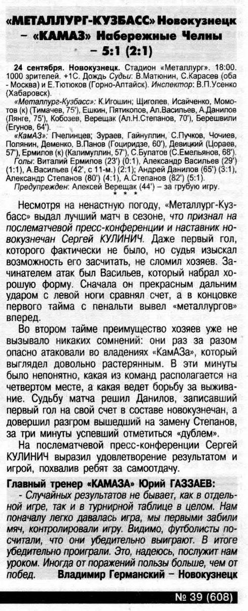 Металлург-Кузбасс (Новокузнецк) - КамАЗ (Набережные Челны) 5:1