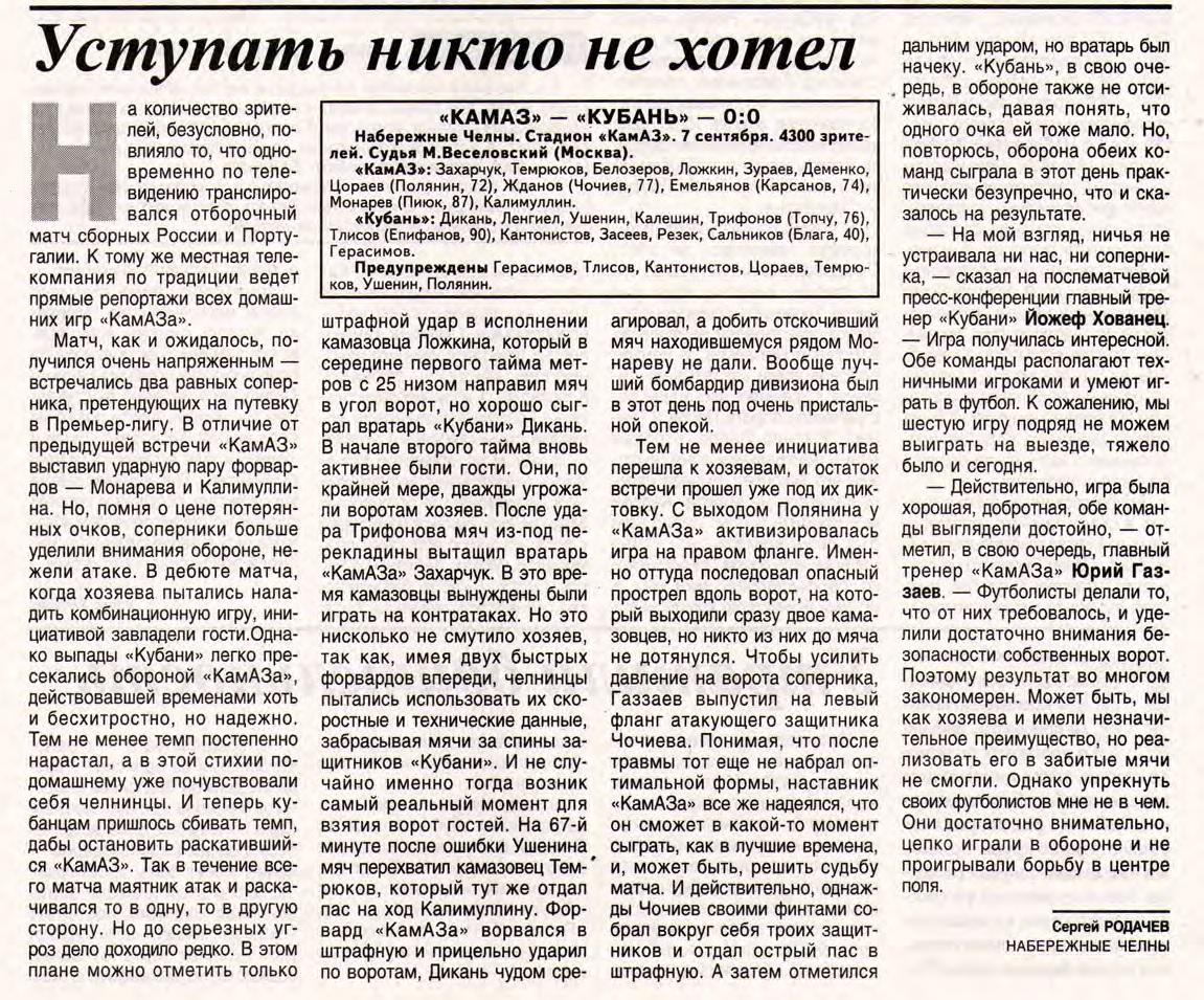 КамАЗ (Набережные Челны) - Кубань (Краснодар) 0:0. Нажмите, чтобы посмотреть истинный размер рисунка