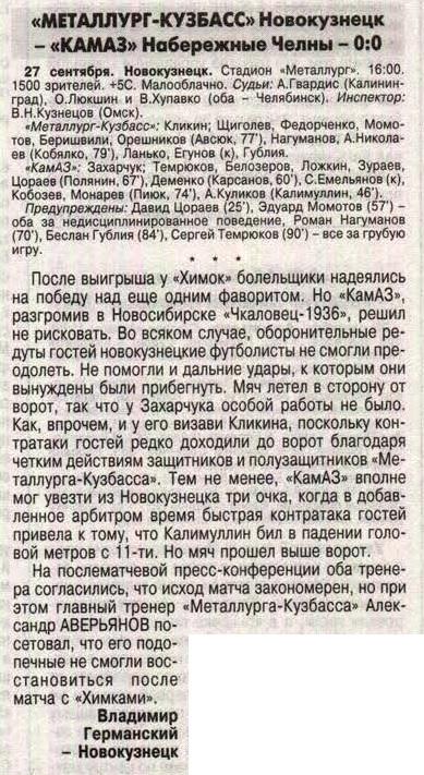 Металлург-Кузбасс (Новокузнецк) - КамАЗ (Набережные Челны) 0:0