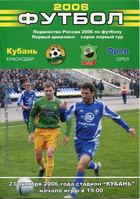 Кубань (Краснодар) - ФК Орёл (Орёл) 2:1