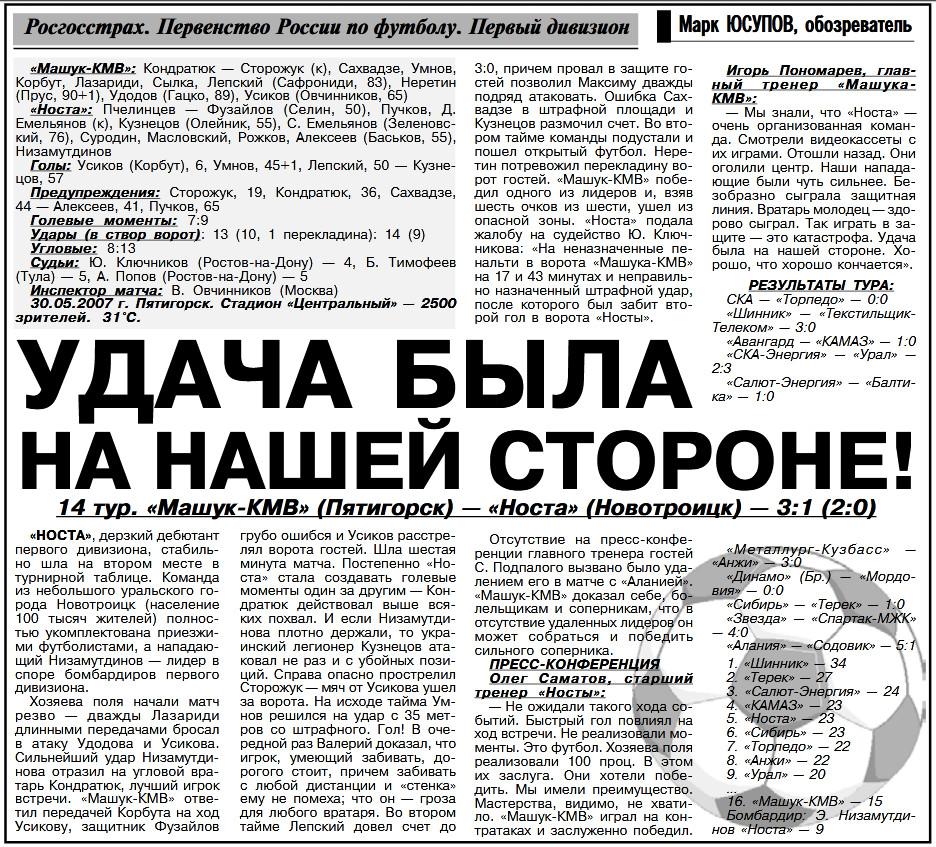 Машук-КМВ (Пятигорск) - Носта (Новотроицк) 3:1. Нажмите, чтобы посмотреть истинный размер рисунка