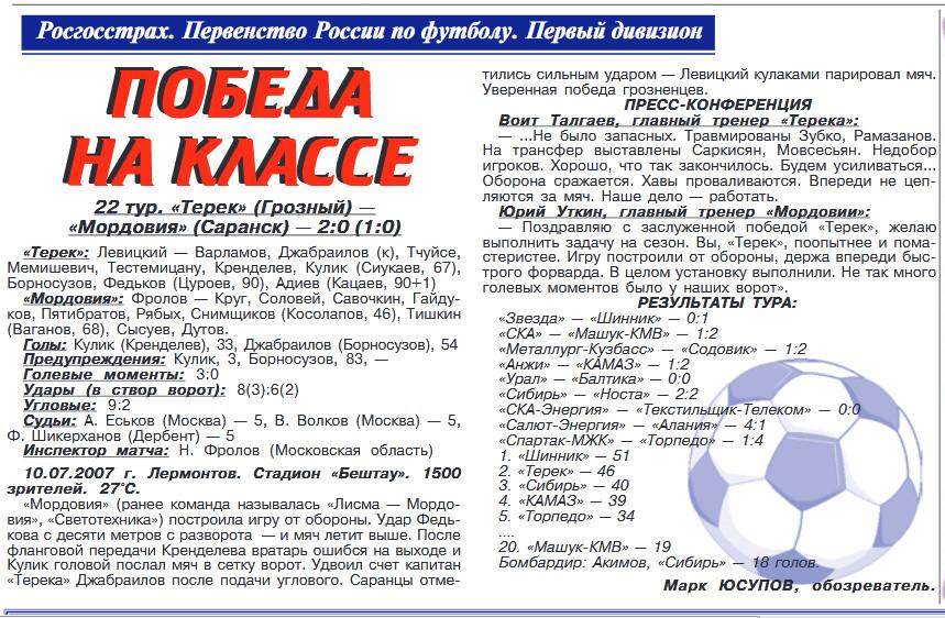 Терек (Грозный) - Мордовия (Саранск) 2:0. Нажмите, чтобы посмотреть истинный размер рисунка