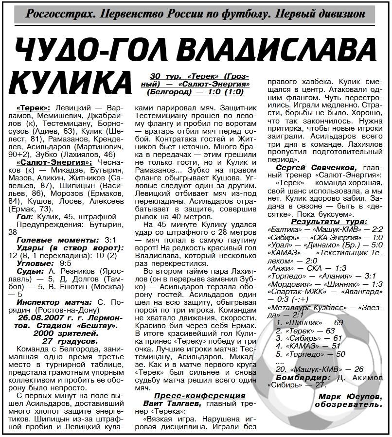 Терек (Грозный) - Салют-Энергия (Белгород) 1:0. Нажмите, чтобы посмотреть истинный размер рисунка