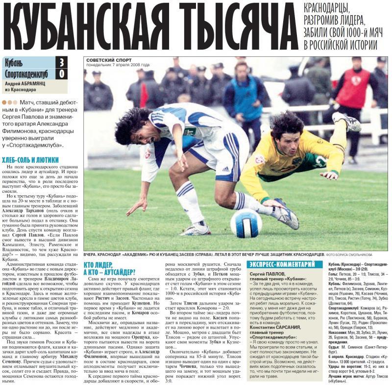 Кубань (Краснодар) - Спортакадемклуб (Москва) 3:0. Нажмите, чтобы посмотреть истинный размер рисунка