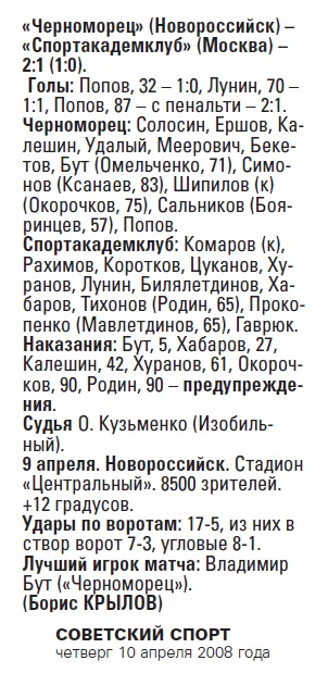 Черноморец (Новороссийск) - Спортакадемклуб (Москва) 2:1
