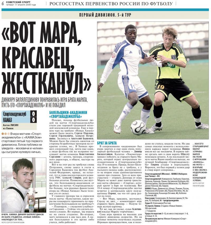 Спортакадемклуб (Москва) - КамАЗ (Набережные Челны) 0:0. Нажмите, чтобы посмотреть истинный размер рисунка