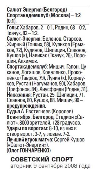 Салют-Энергия (Белгород) - Спортакадемклуб (Москва) 1:2