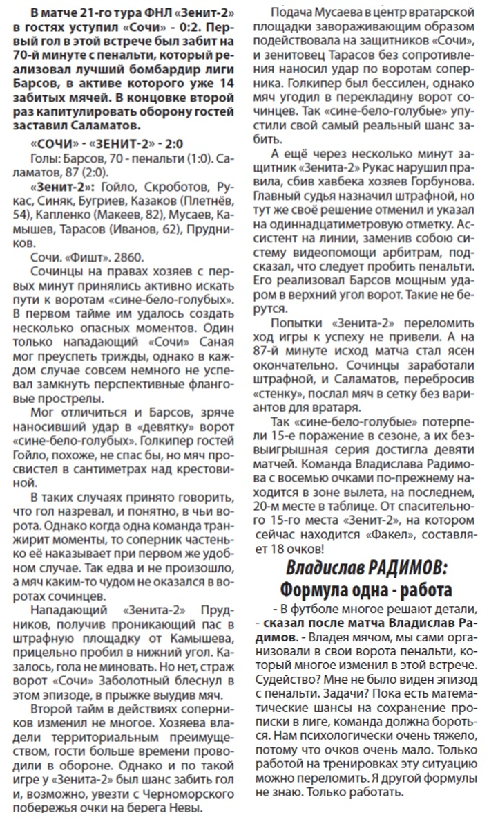 Сочи (Сочи) - Зенит-2 (Санкт-Петербург) 2:0