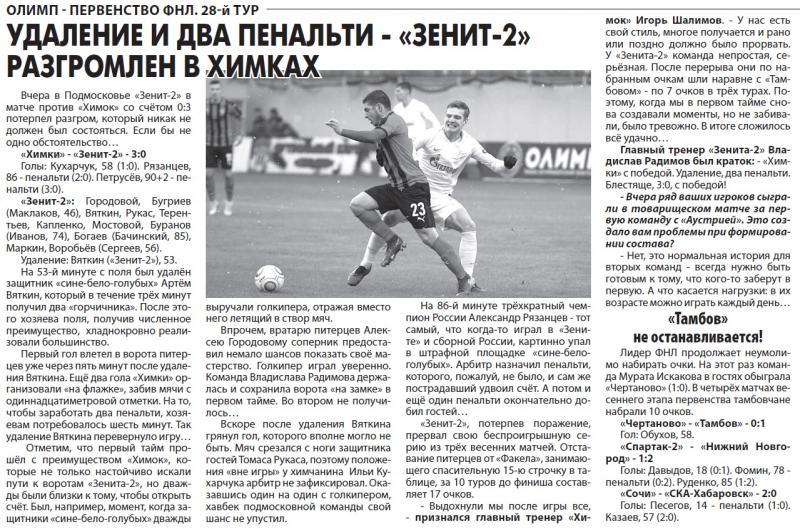 Химки (Химки) - Зенит-2 (Санкт-Петербург) 3:0. Нажмите, чтобы посмотреть истинный размер рисунка