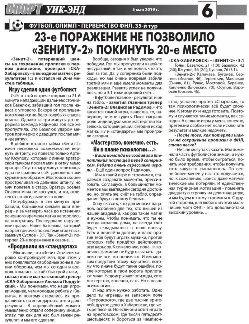 СКА-Хабаровск (Хабаровск) - Зенит-2 (Санкт-Петербург) 3:1. Нажмите, чтобы посмотреть истинный размер рисунка
