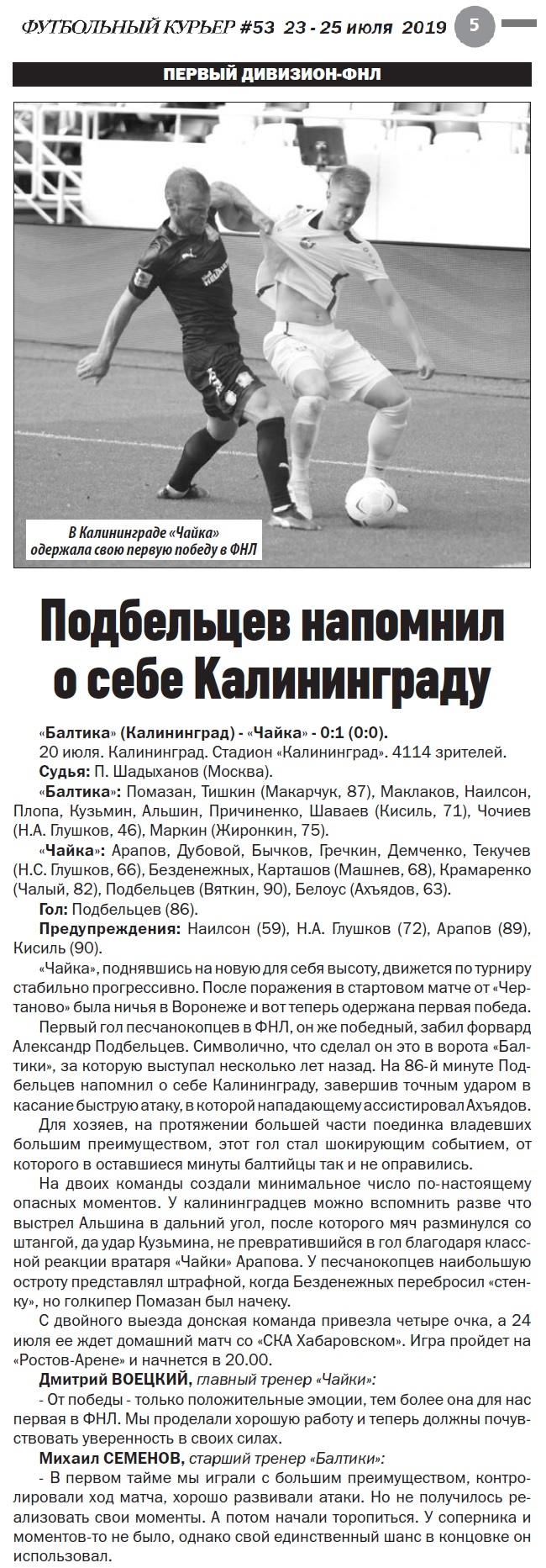 Балтика (Калининград) - Чайка (Песчанокопское) 0:1