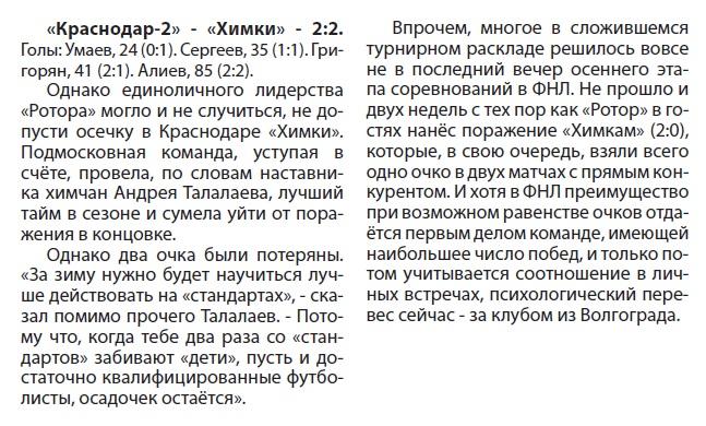 Краснодар-2 (Краснодар) - Химки (Химки) 2:2