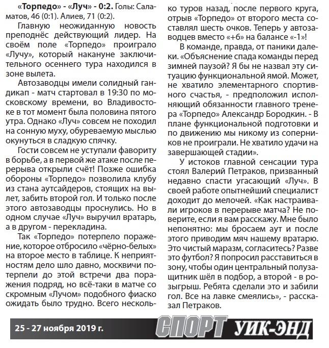 Торпедо (Москва) - Луч (Владивосток) 0:2
