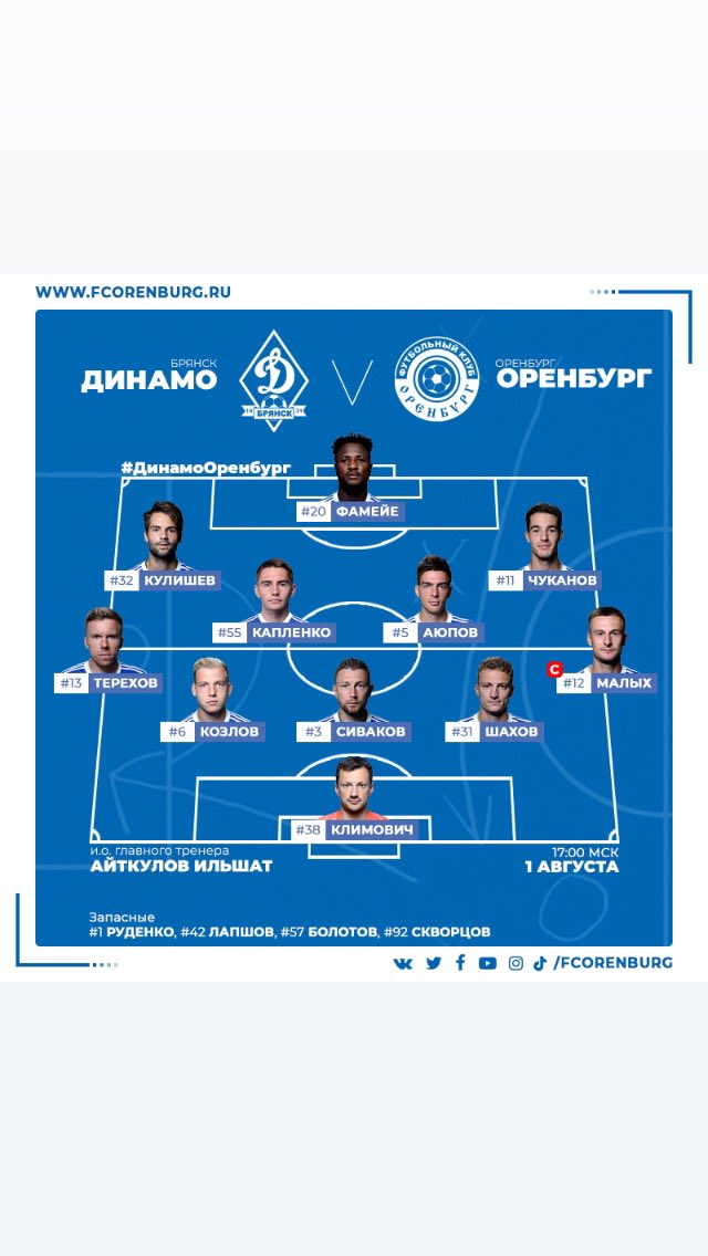 Динамо (Брянск) - Оренбург (Оренбург) 0:1