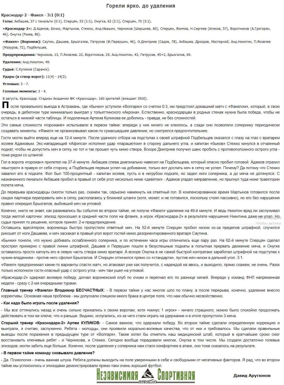 Краснодар-2 (Краснодар) - Факел (Воронеж) 3:1. Нажмите, чтобы посмотреть истинный размер рисунка