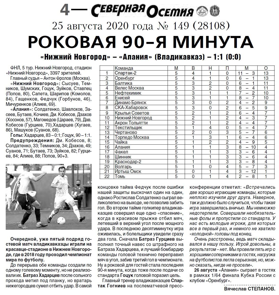 Нижний Новгород (Нижний Новгород) - Алания (Владикавказ) 1:1. Нажмите, чтобы посмотреть истинный размер рисунка