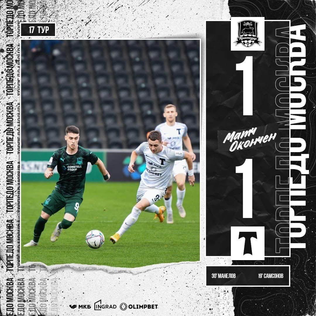 Краснодар-2 (Краснодар) - Торпедо (Москва) 1:1. Нажмите, чтобы посмотреть истинный размер рисунка