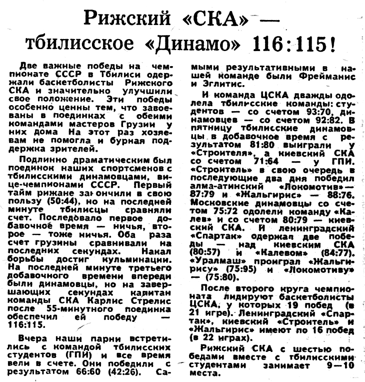 Динамо  (Тбилиси) - СКА  (Рига) 115-116