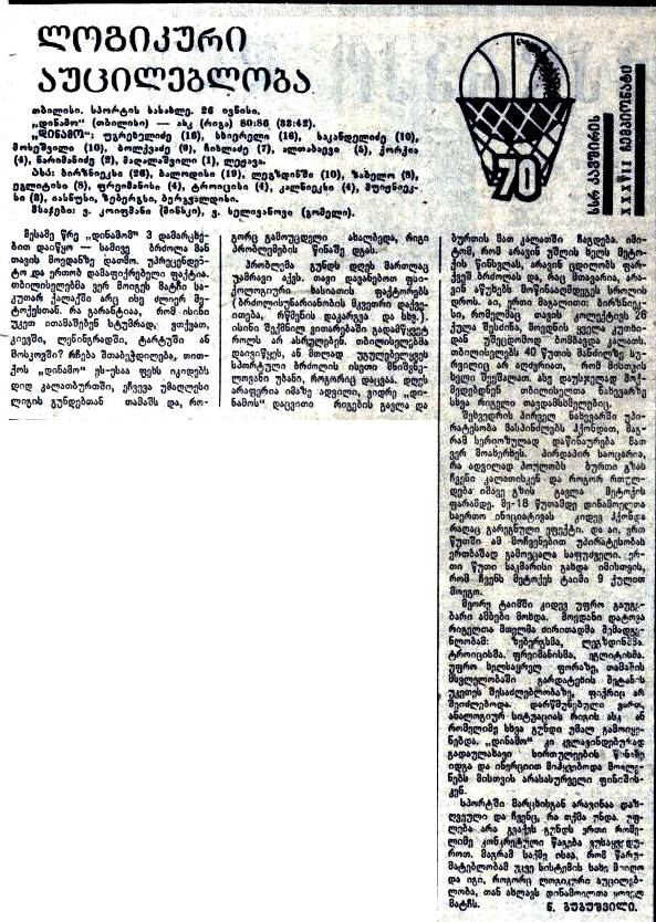 Динамо  (Тбилиси) - СКА  (Рига) 80-86