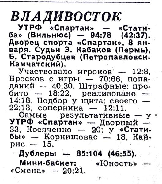 Спартак  (Владивосток) - Статиба  (Вильнюс) 94-78
