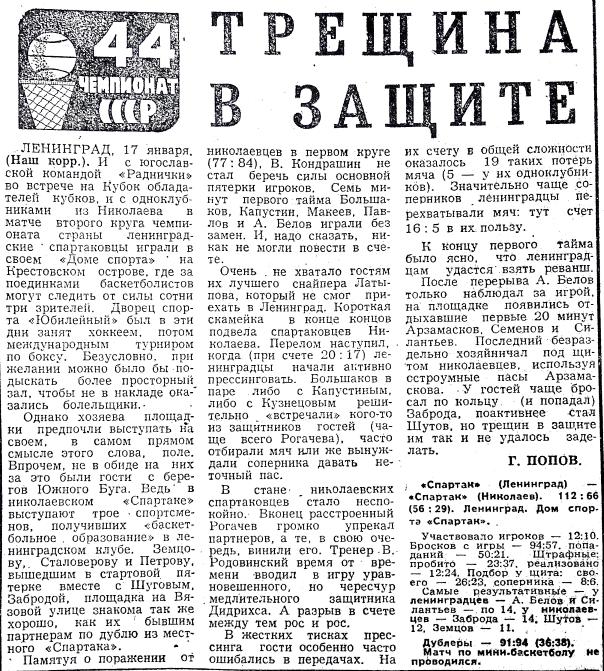 Спартак  (Ленинград) - Спартак  (Николаев) 112-66