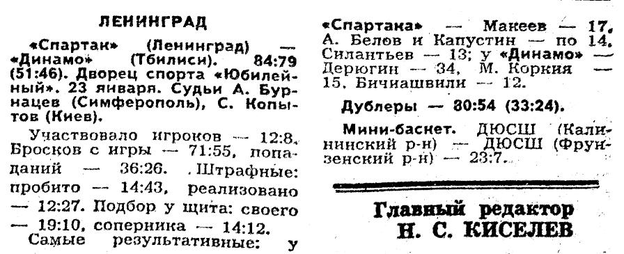 Спартак  (Ленинград) - Динамо  (Тбилиси) 84-79