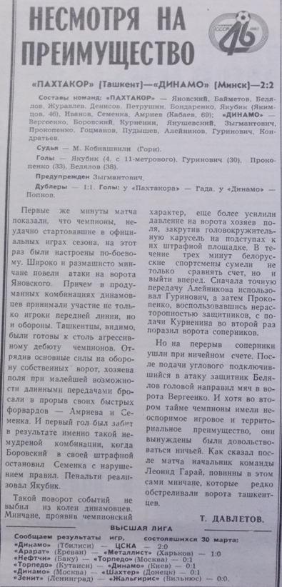 Пахтакор (Ташкент) - Динамо (Минск) 2:2