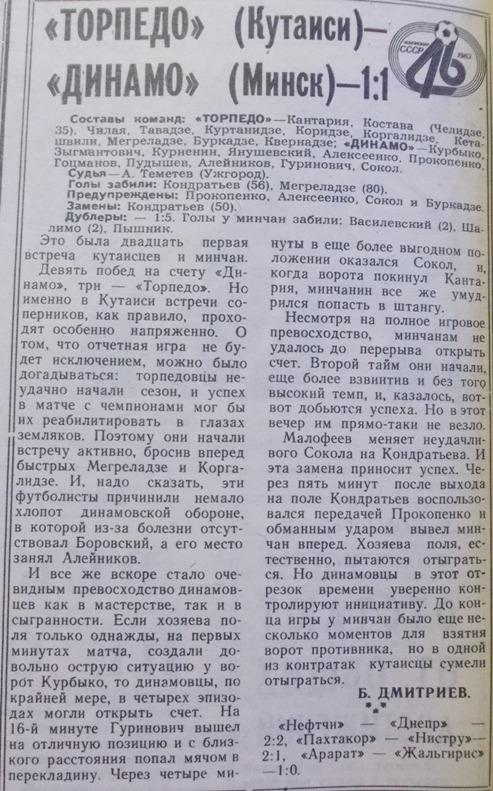 Торпедо (Кутаиси) - Динамо (Минск) 1:1