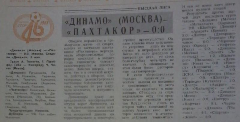 Динамо (Москва) - Пахтакор (Ташкент) 0:0. Нажмите, чтобы посмотреть истинный размер рисунка