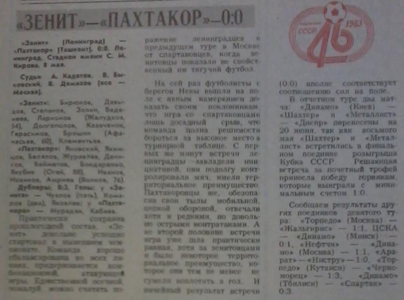 Зенит (Ленинград) - Пахтакор (Ташкент) 0:0. Нажмите, чтобы посмотреть истинный размер рисунка