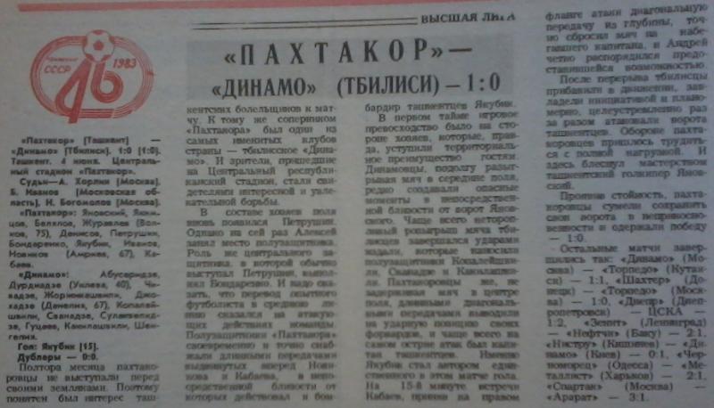 Пахтакор (Ташкент) - Динамо (Тбилиси) 1:0. Нажмите, чтобы посмотреть истинный размер рисунка