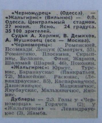 Черноморец (Одесса) - Жальгирис (Вильнюс) 0:0