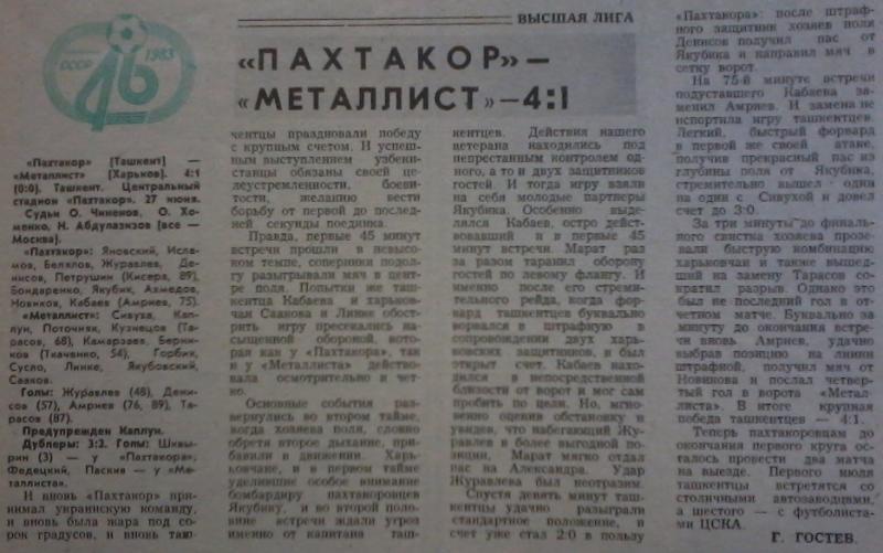 Пахтакор (Ташкент) - Металлист (Харьков) 4:1. Нажмите, чтобы посмотреть истинный размер рисунка