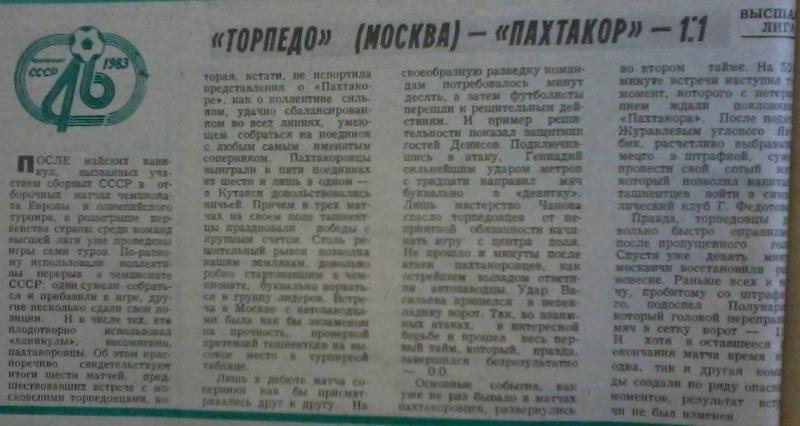 Торпедо (Москва) - Пахтакор (Ташкент) 1:1. Нажмите, чтобы посмотреть истинный размер рисунка