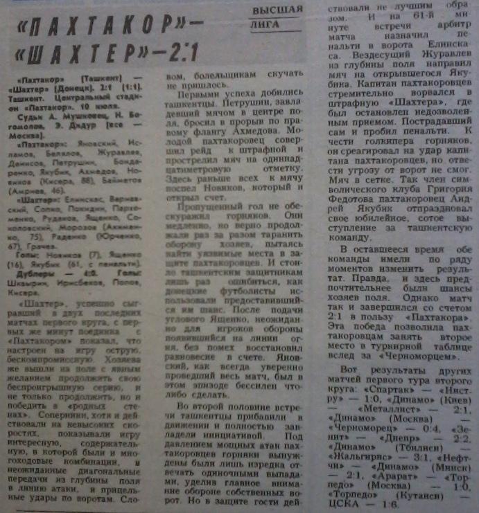 Пахтакор (Ташкент) - Шахтер (Донецк) 2:1