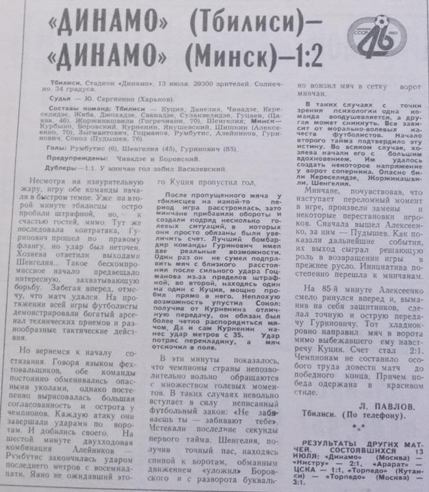 Динамо (Тбилиси) - Динамо (Минск) 1:2