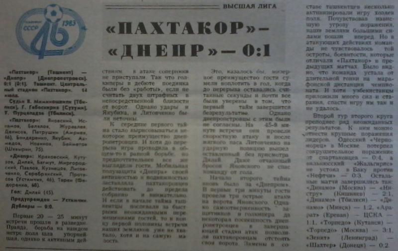 Пахтакор (Ташкент) - Днепр (Днепропетровск) 0:1. Нажмите, чтобы посмотреть истинный размер рисунка
