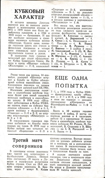 Зенит (Ленинград) - Шахтер (Донецк) 0:2