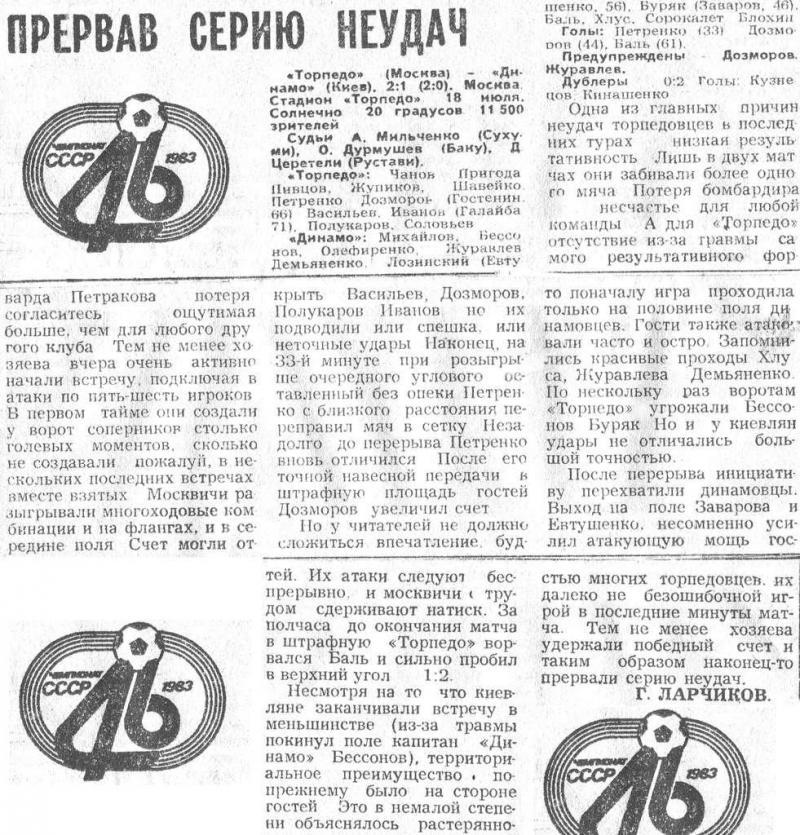 Торпедо (Москва) - Динамо (Киев) 2:1. Нажмите, чтобы посмотреть истинный размер рисунка