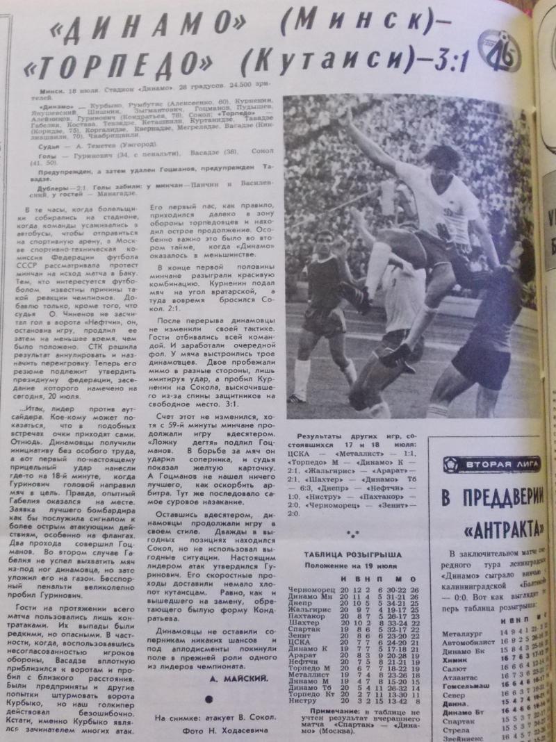 Динамо (Минск) - Торпедо (Кутаиси) 3:1. Нажмите, чтобы посмотреть истинный размер рисунка