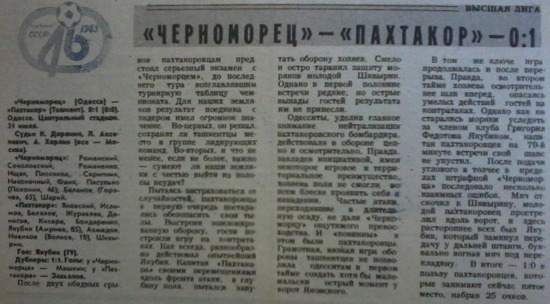 Черноморец (Одесса) - Пахтакор (Ташкент) 0:1. Нажмите, чтобы посмотреть истинный размер рисунка