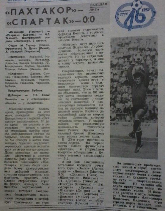 Пахтакор (Ташкент) - Спартак (Москва) 0:0
