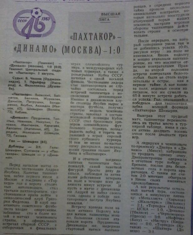 Пахтакор (Ташкент) - Динамо (Москва) 1:0