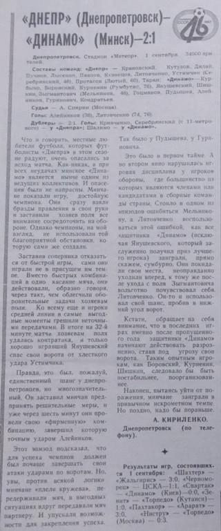 Днепр (Днепропетровск) - Динамо (Минск) 2:1