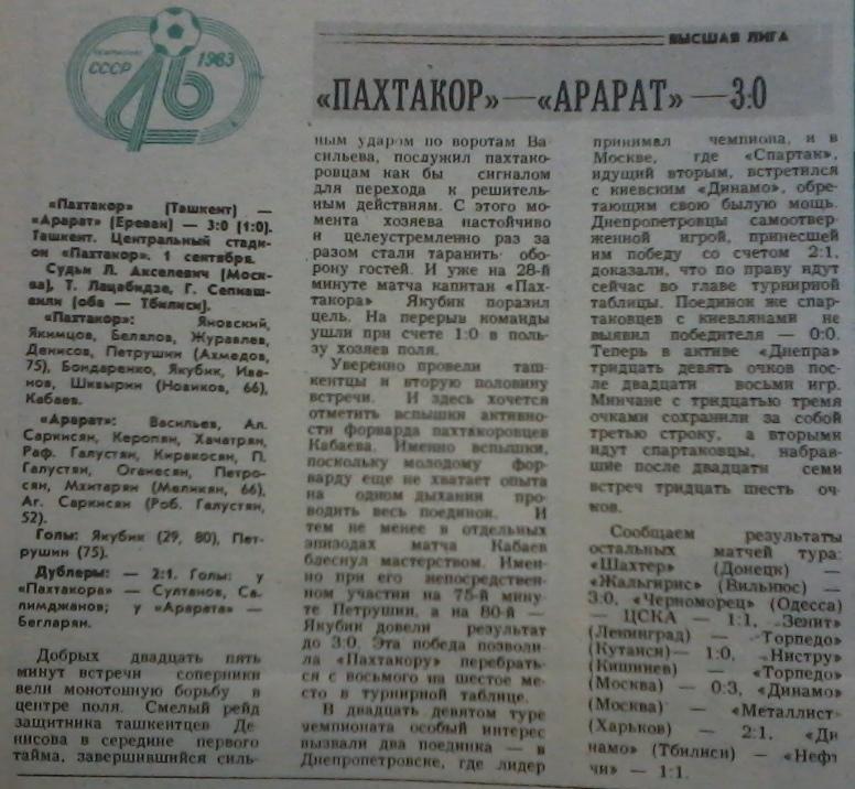 Пахтакор (Ташкент) - Арарат (Ереван) 3:0