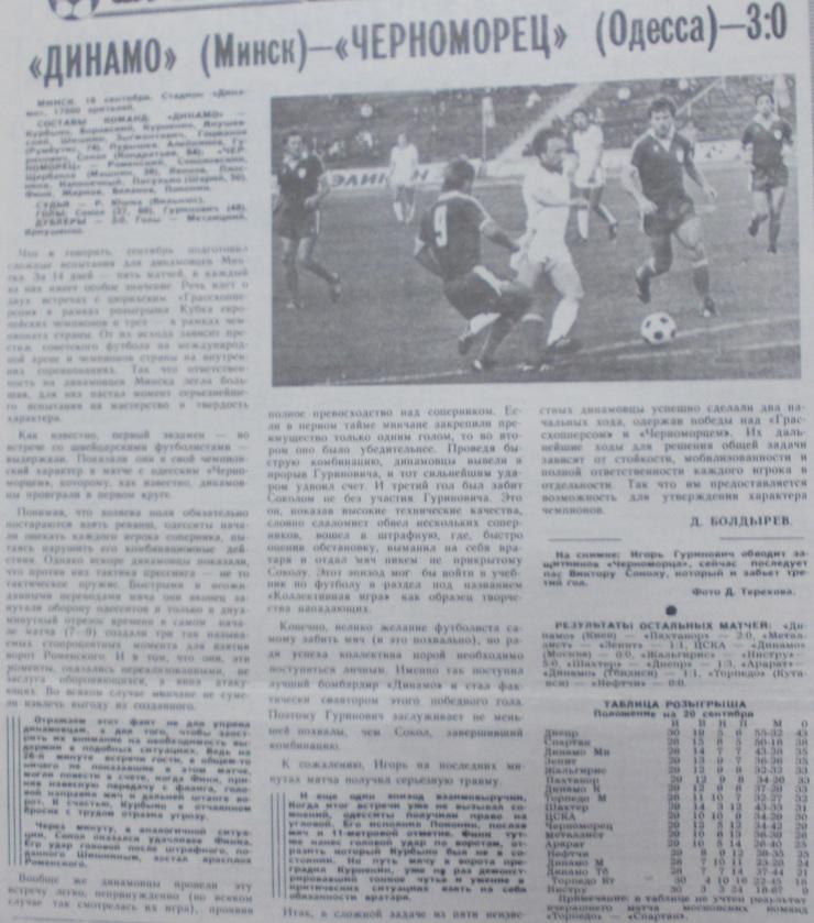 Динамо (Минск) - Черноморец (Одесса) 3:0