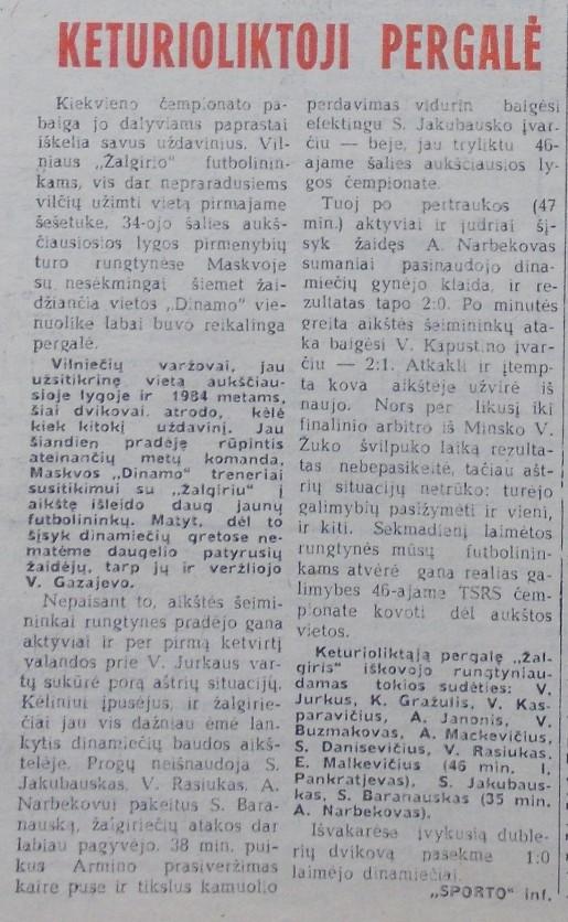 Динамо (Москва) - Жальгирис (Вильнюс) 1:2